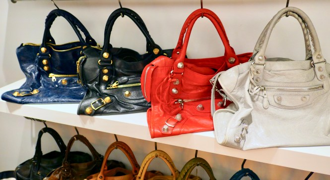 Balenciaga City bags with giant hardware in Gris Ciment, Coquelicot red, black and Marine blue.