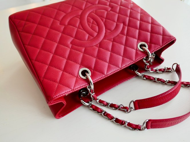 2012 Chanel GST red caviar with silver hardware