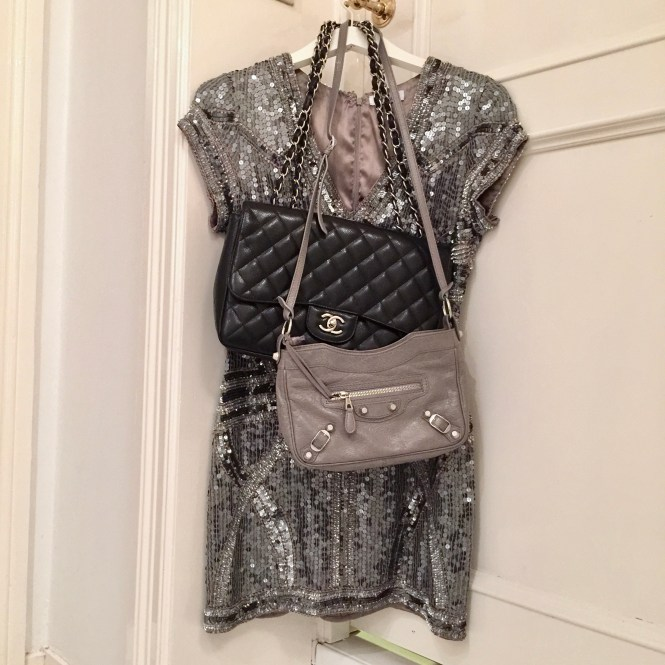 sequin dress with a chanel jumbo and a balenciaga hip