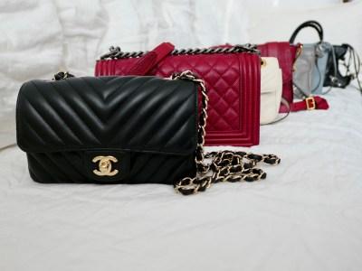 22de5d3cc5e Designer crossbody bags  Chanel black chevron rectangular mini
