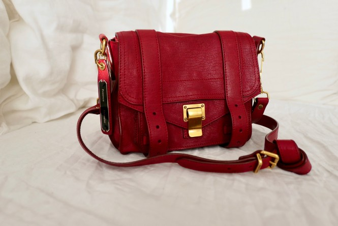 Proenza Schouler PS1 Pouch bag in crimson red with gold hw