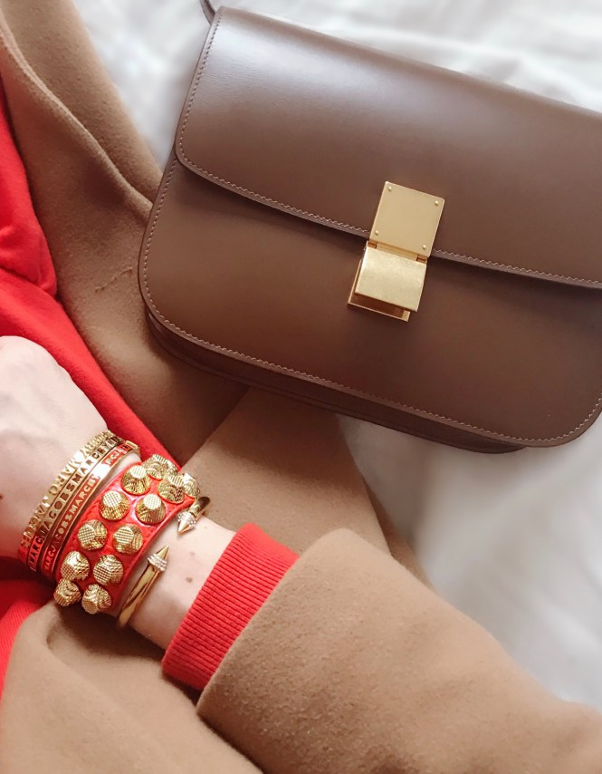 Celine medium Box bag in camel and gold hardware.