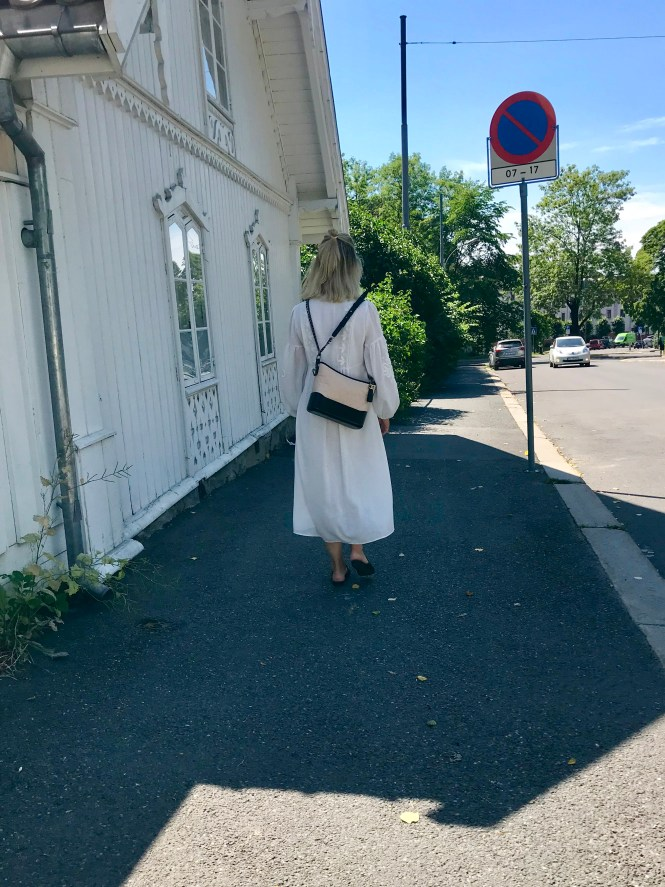 Flowy white midi dress and Chanel Gabrielle