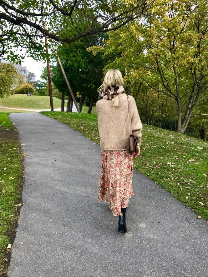 Chunky knit over a maxi dress with Celine Box bag.