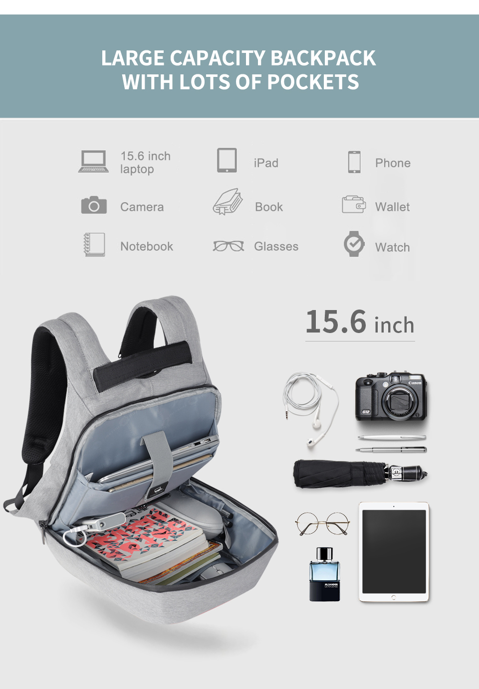Fashion Laptop Anti theft Backpacks Travel School Student Bags