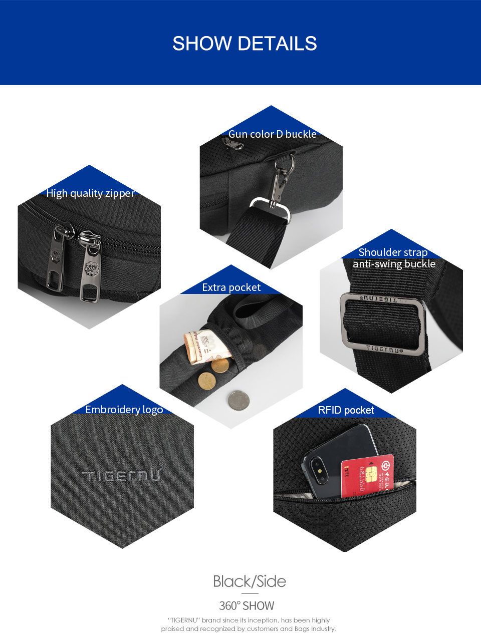 Fashion RFID Anti Theft Sling Bags Waterproof Light Weight Chest Bags