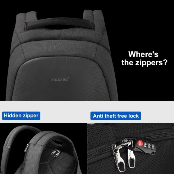 Fashion USB Charging Anti Theft Backpacks Water Repellent Causal School Backpacks