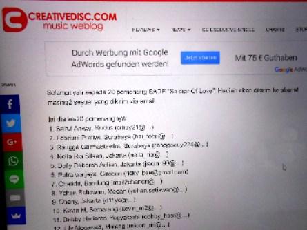 Menang Kuis Creative disc music webblog