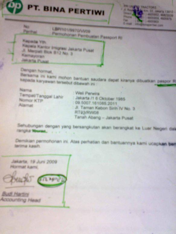 Pengalaman Perpanjang Paspor di Imigrasi Jakarta Pusat. Contoh Draft Surat Keterangan kantor