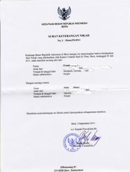 Surat Keterangan Nikah dikeluarkan KBRI Swiss