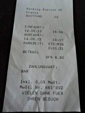 Tiket Parkir di Zürich yang amit-amit Mahalnya