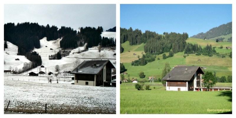 Pemandangan Depan Rumah Kami di Swiss. Sebelah Kiri Ketika Musim Dingin Januari 2011, Sebelah Kanan Ketika Musim Panas Juni 2011
