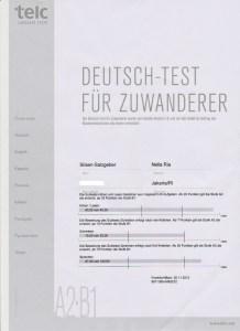 Sertifikat Nilai Kursus Integrasi di Jerman. B1 Punktezertifikat