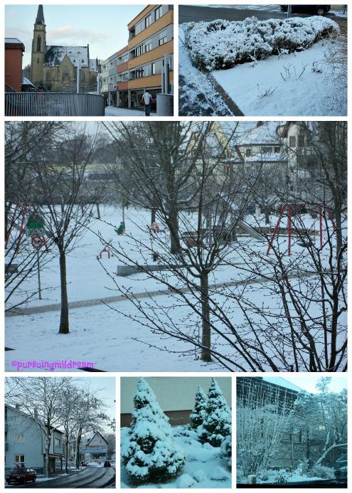 Musim Dingin di Jerman. Pemandangan Salju di Bad Rappenau. 6.12.2012