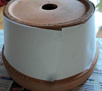Kertas disesuaikan dengan Ukuran Pot, kertas disambung-sambung Hingga Pot tertutup rapih kertas hvs