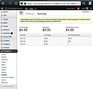Screenshot Penghasilan dari Wordads Bulan Feb dan Maret 2013