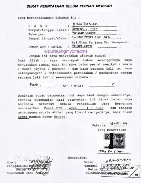 Surat Keterangan Single. Dikeluarkan oleh Kelurahan. Petunjuk Melakukan Pernikahan di Swiss