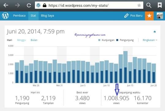 Blogku tembus Total  1 juta page view