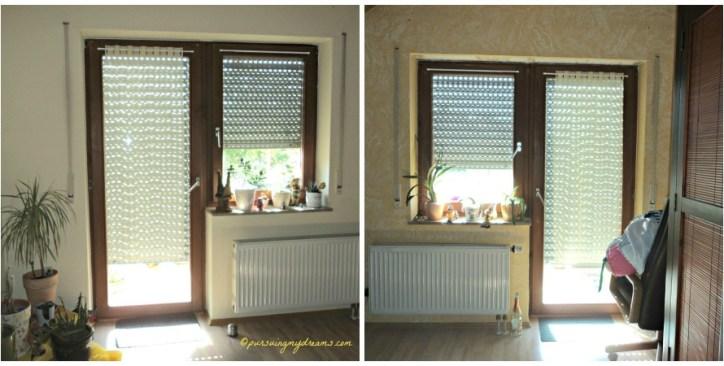 Kiri Ruang tamu, kanan kamar tidur. Mencegah Panas masuk Rumah Rolladen (Blind jendela) sudah diturunkan sejak pagi jam 9