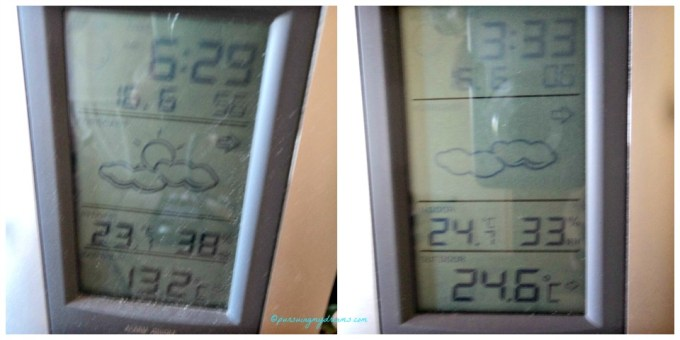 Cuaca Minggu ini sedang sejukkk. Kiri jam 6.30 pagi aja 13 derajat C. Jam 3.30 sore 24 derajat ademm