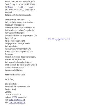 Jawaban Email dari Kedutaan Jerman