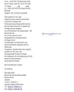 Jawaban Email dari Kedutaan Jerman. Disuruh Nunggu visanya