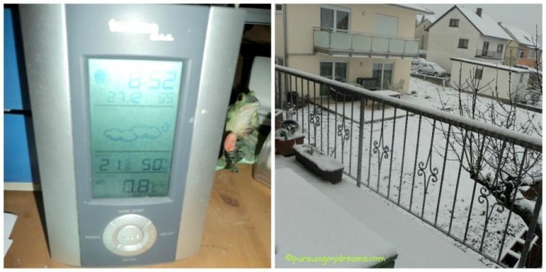 Baru 0,8 derajat c sudah setebal ini saljunya