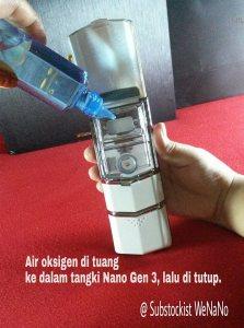Cara mengisi air oksigen ke tangki nanospray