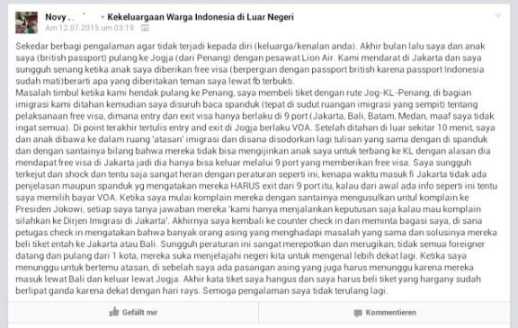 Kalau masuk Indonesia dari bandara bebas visa, maka keluar harus juga melalui salah satu bandara atau pelabuhan yg bebas visa ya