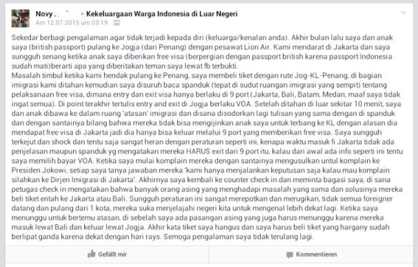 Lanjutan Mengenai Bebas Visa ke Indonesia. Kalau masuk Indonesia dari bandara bebas visa, maka keluar harus juga melalui salah satu bandara atau pelabuhan yg bebas visa ya