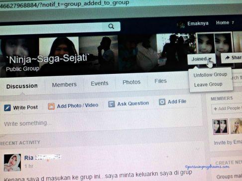 Di tampilan depan grup lihat bagian atas kanan ada tulisan join, klik nanti pilih tinggalkan grup