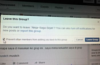 klik kotaknya Mencegah anggota lain menambahkan Anda kembali ke grup ini