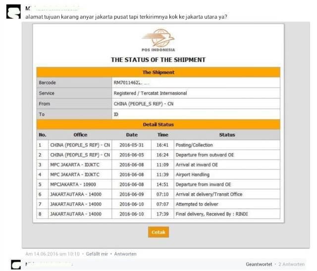 Paket tujuan jakarta pusat ko malah dikirim dan status diterima di jakarta utara, dasar pos indonesia