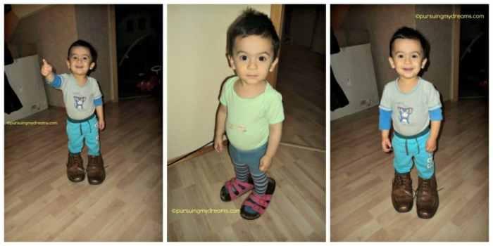 nih anak tidak bisa lihat sendal dan sepatu nganggur langsung dia pakai