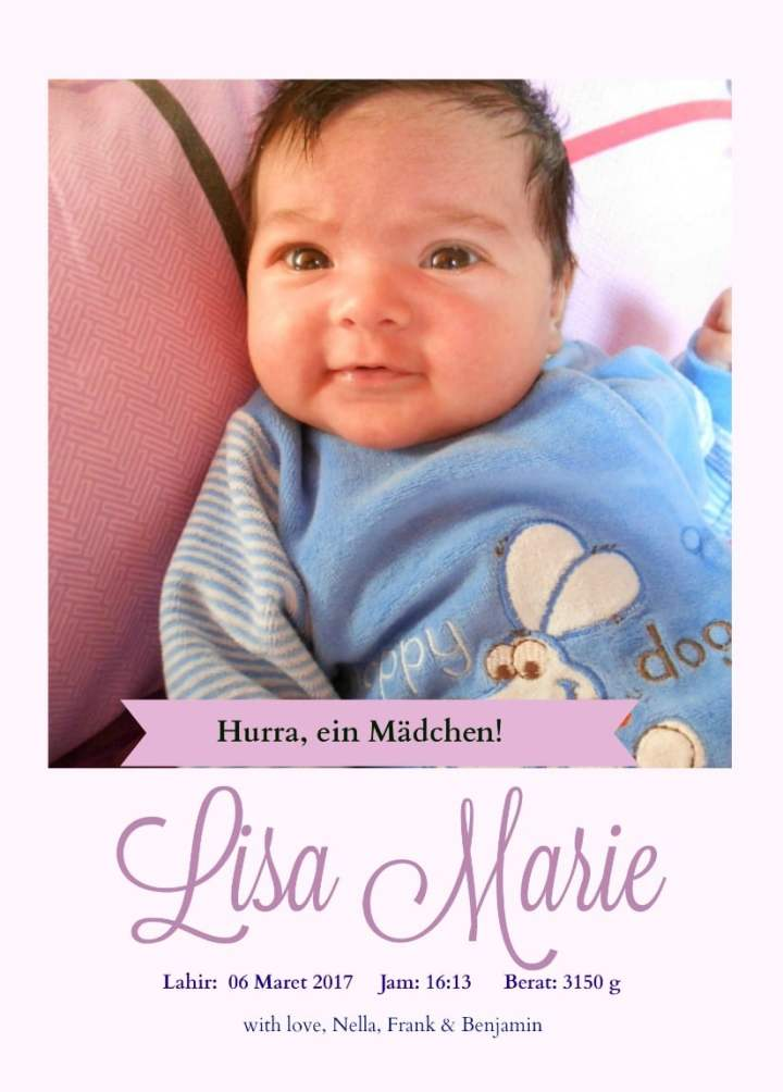 baby announcement cards. Lisa Marie Anak Keduaku