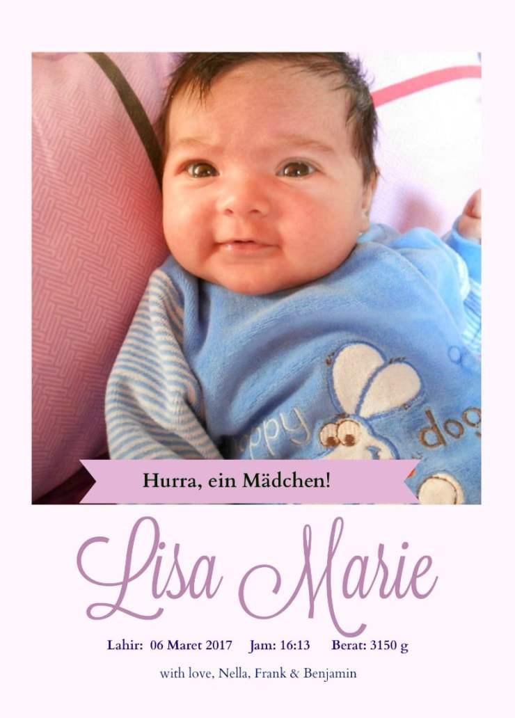 baby announcement cards.  Lisa Marie Anak Keduaku