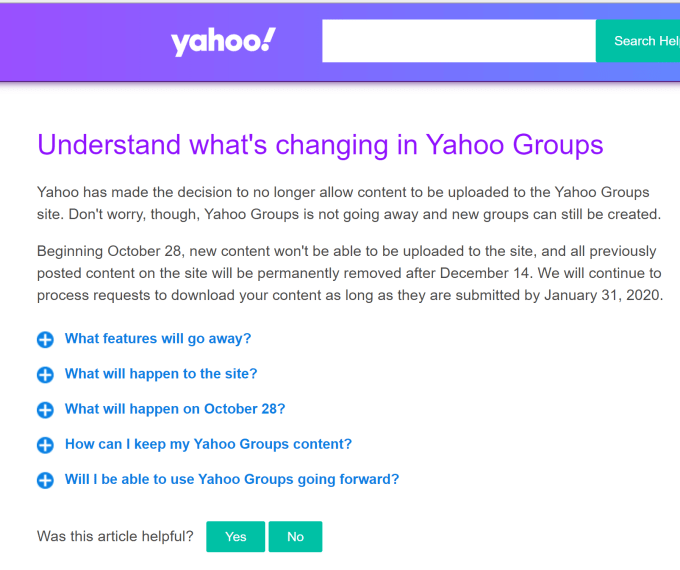 Yahoo Groups ditutup per Desember 2019