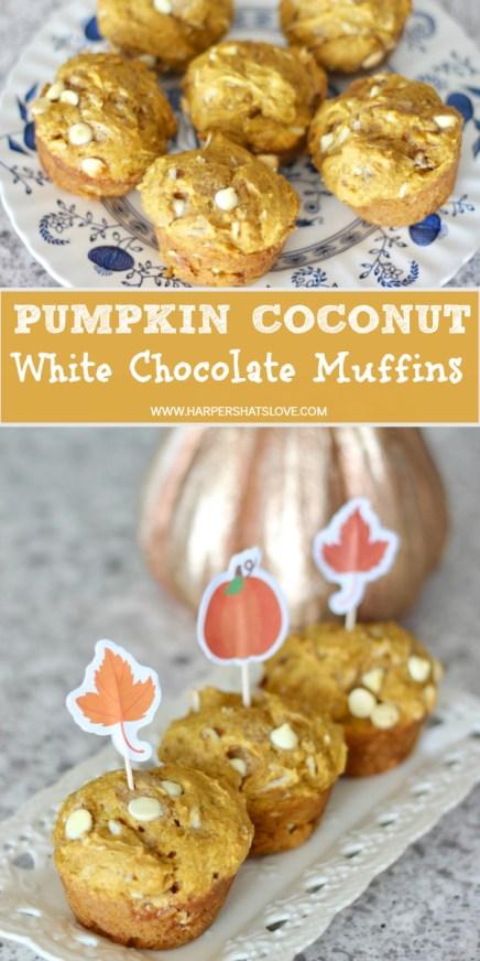 Pumpkin coconut white chocolate muffins recipe
