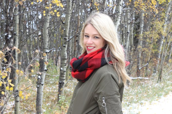 Blanket Scarf and Bomber Jacket