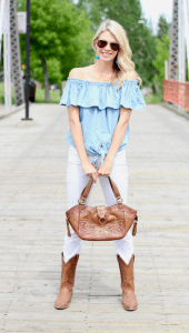 Stampede Style: Off the shoulder denim shirt, white jeans, cowboy boots