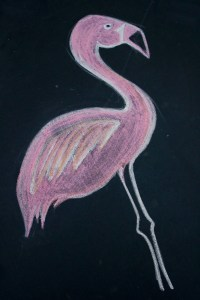 Trampoline Chalk Art Ideas - Flamingo and Pineapple