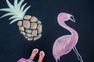 Trampoline Chalk Art Ideas - Flamingo and Pineapple