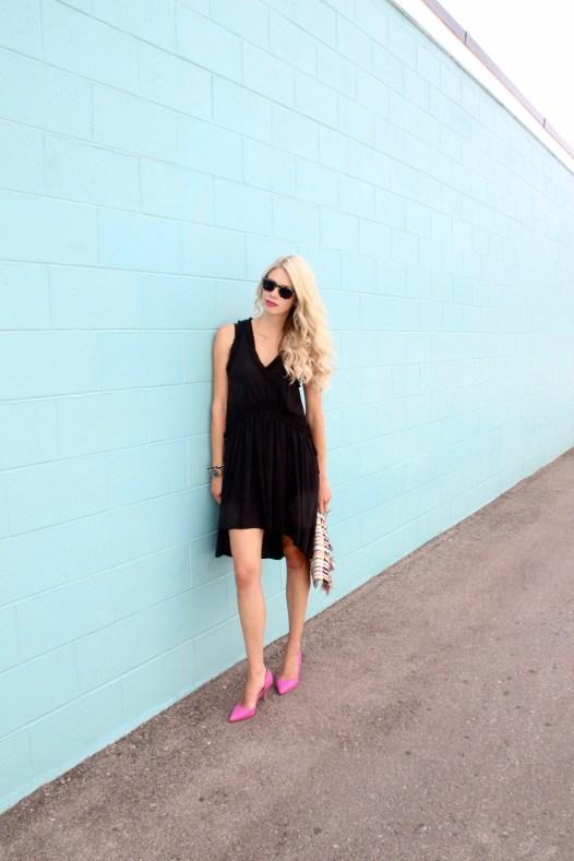 Summer to Fall outfit ideas - black dress, pink heels, Stella & Dot Taj Clutch