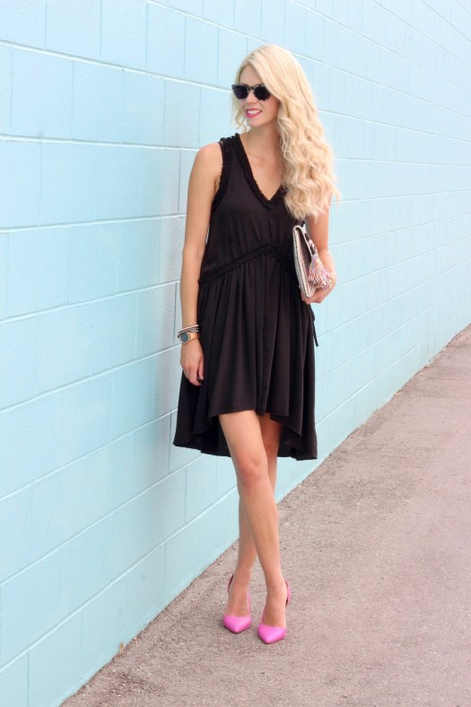 Little Black Dress outfit ideas- kill it with accessories - pink heels, Taj clutch