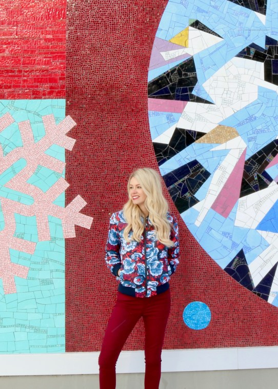 Winter Outfit Inspiration - Floral bomber jacket, moto jeans, ankle boots