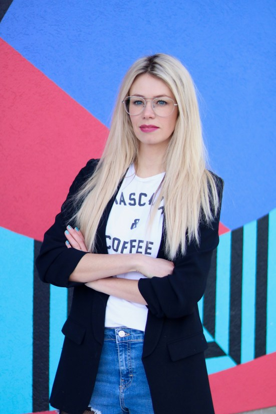 Trending for 2018 - Mascara and Coffee tee, fishnet distressed denim, black blazer, aviator glasses - outfit inspiration OOTD