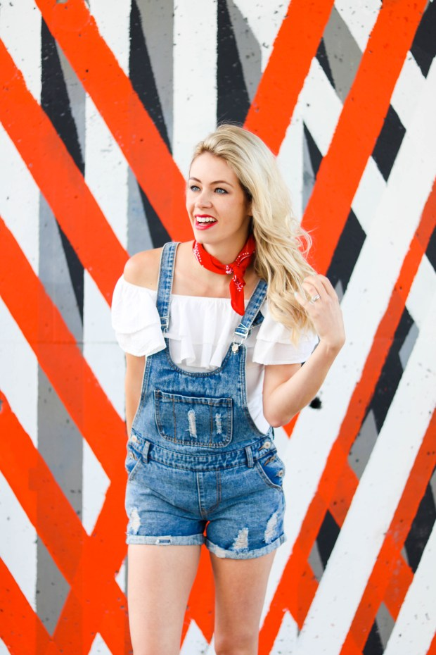Calgary Stampede Outfits - Outfit Inspiration for the Cowgirl! Overall shorts, off-the-shoulder shirt, red bandana, red cowboy boots - #fashion