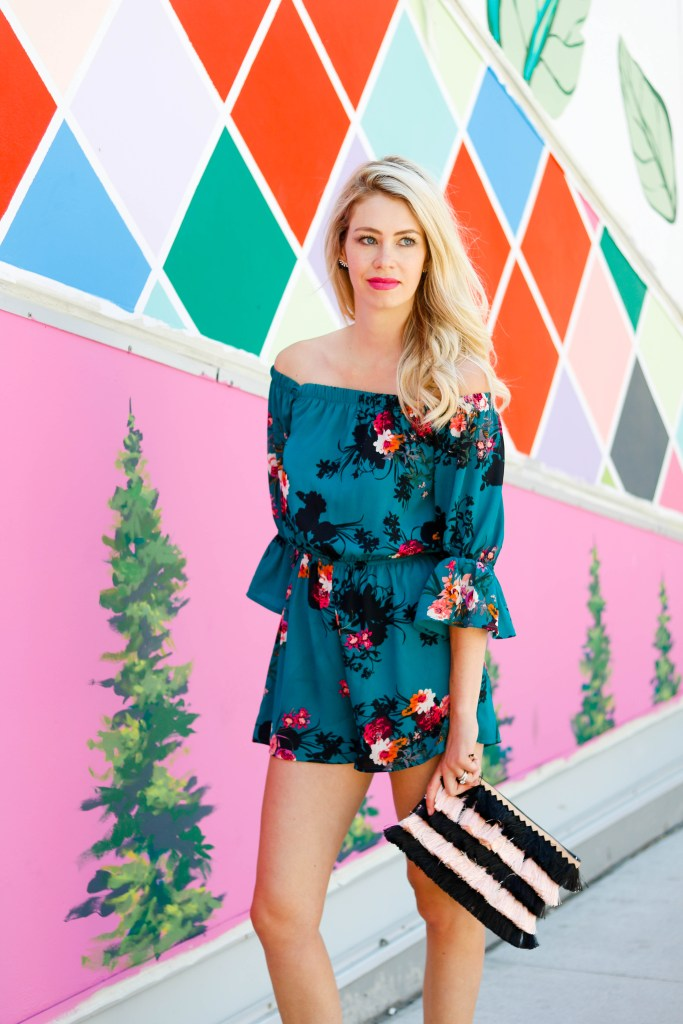 Corridor of Connections - Calgary's newest wall mural for Instagram photos - jade flower romper