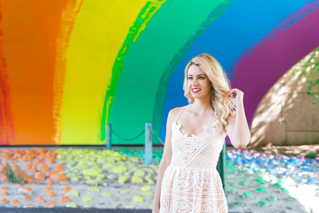 White crochet lace-up dress from Chicwish - making magic under the Rainbow Underpass in Calgary, Alberta - instagrammable Calgary