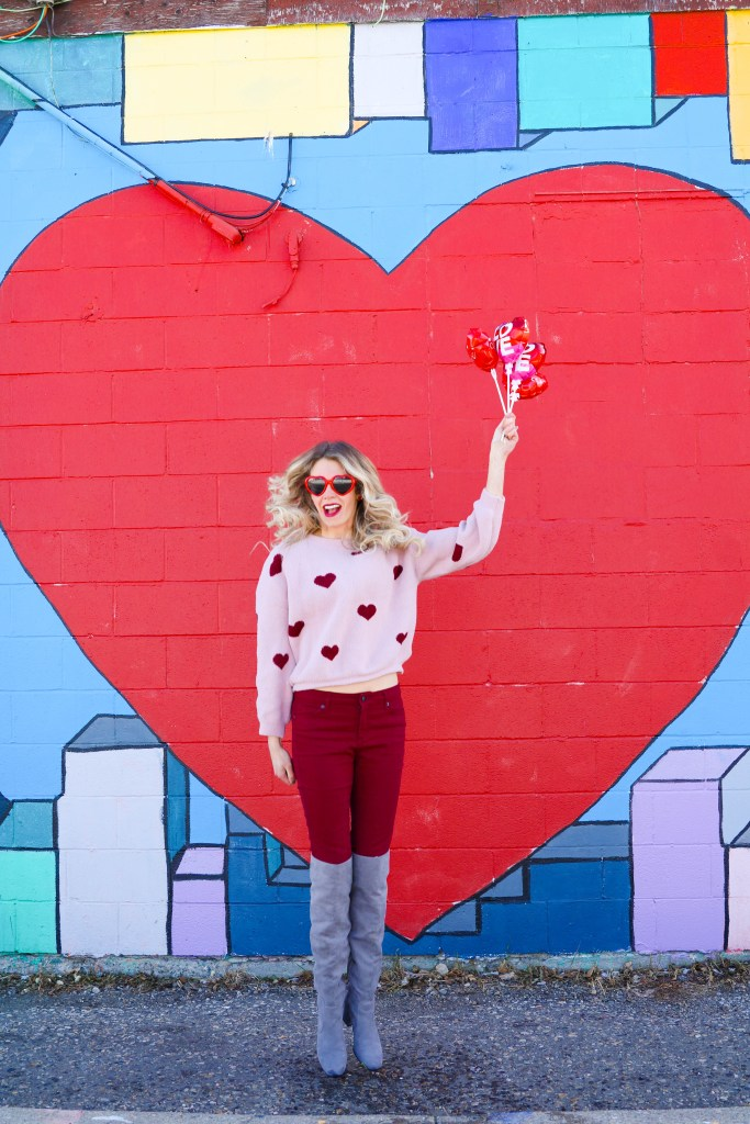 Valentine's Day outfit ideas! Chicwish cropped sweater, burgundy jeans and OTK boots! #fashion #style
